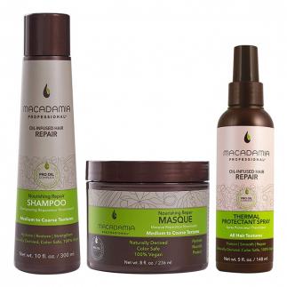 Трио шампоан, маска и термозащитен спрей Macadamia Nourishing Repair за средна до плътна коса
