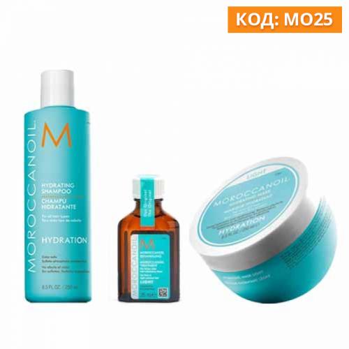 Трио шампоан 250 мл, маска 250 мл и олио 25 мл  за тънка коса Moroccanoil Hydrating