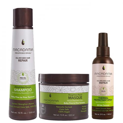 Трио Macadamia Weightless Repair термозащита за фини коси