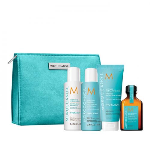 Комплект за път за хидратация + подарък несесер Moroccanoil Hydration Trial Kit