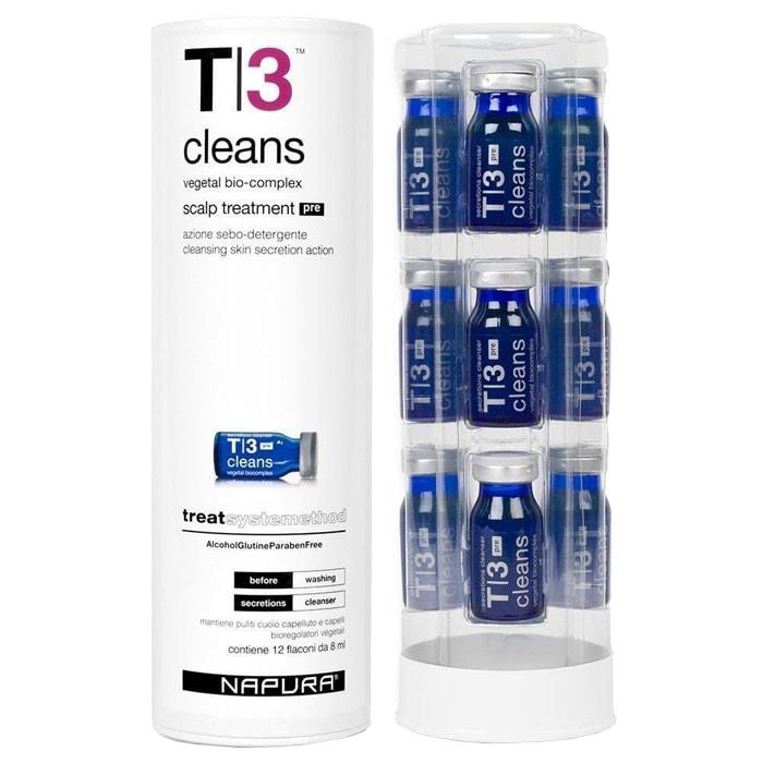 Ампули против бързо омазняване на скалпа 12 бр х 8 мл Napura T|3 CLEANS POST