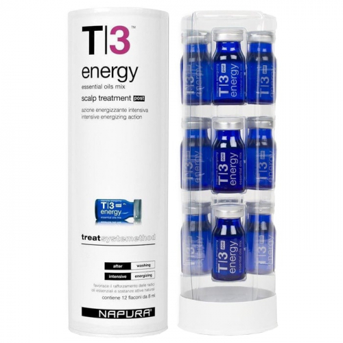 Ампули против силен косопад за мазна коса 12 бр. х 8 мл NAPURA T|3 Energy Post