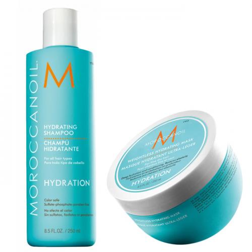 Дуо шампоан 250 мл + маска 250 мл за тънка и изтощена коса Moroccanoil Hydrating
