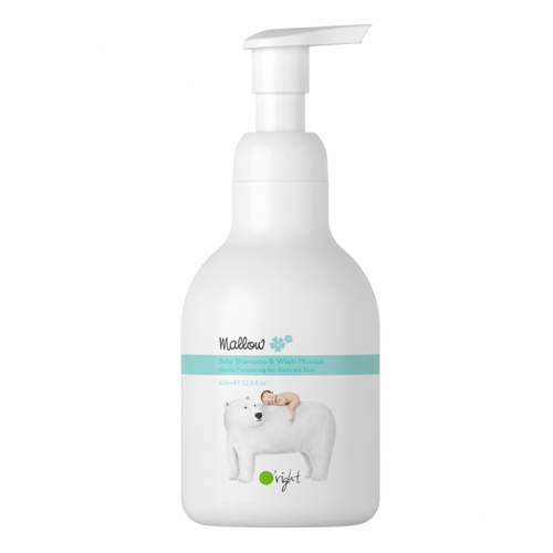Натурален шампоан и душ гел 2 в 1 за бебета и деца 650 мл Oright Mallow Baby Shampoo & Wash Mousse