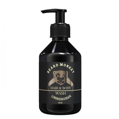 Шампоан за коса и тяло за мъже с аромат на лимонова трева Beard Monkey 250 мл