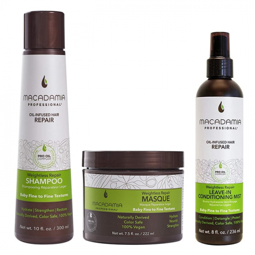 Трио шампоан, маска и балсам мъгла Macadamia Weightless Repair за фина коса
