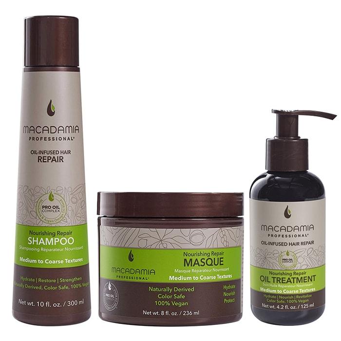 Трио шампоан, маска и олио Macadamia Nourishing Repair за средна до плътна коса