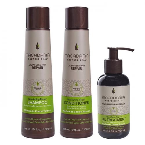 Трио шампоан, балсами олио Macadamia Nourishing Repair за средна до плътна коса