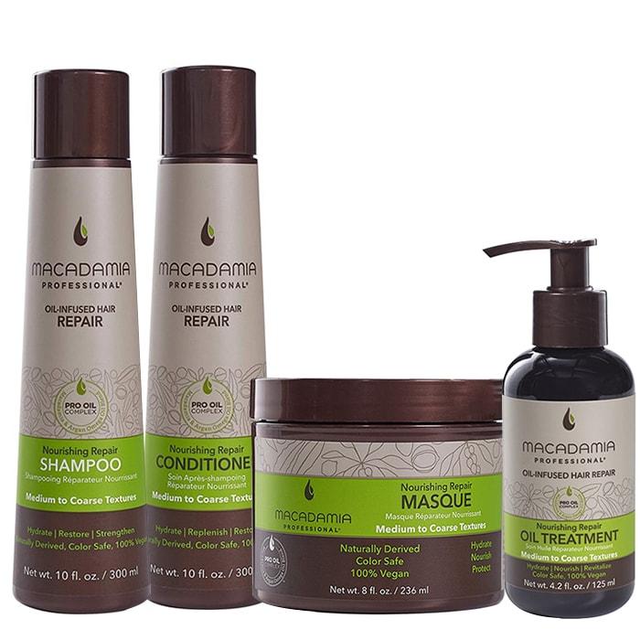 Комплект шампоан, маска, балсам и олио Macadamia Nourishing Repair за средна до плътна коса