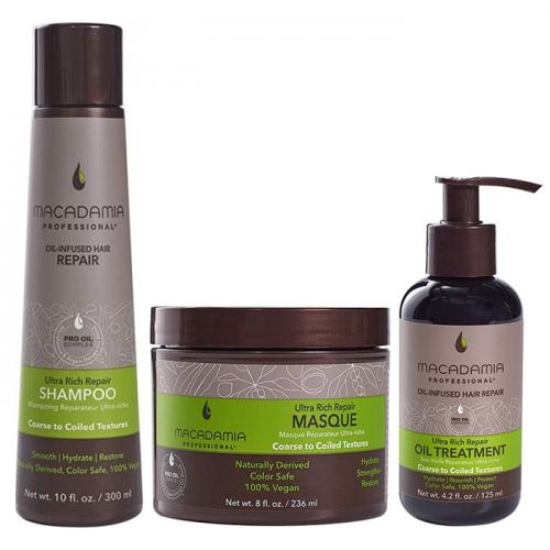 Трио шампоан, маска и олио Macadamia Ultra Rich Repair за плътни коси