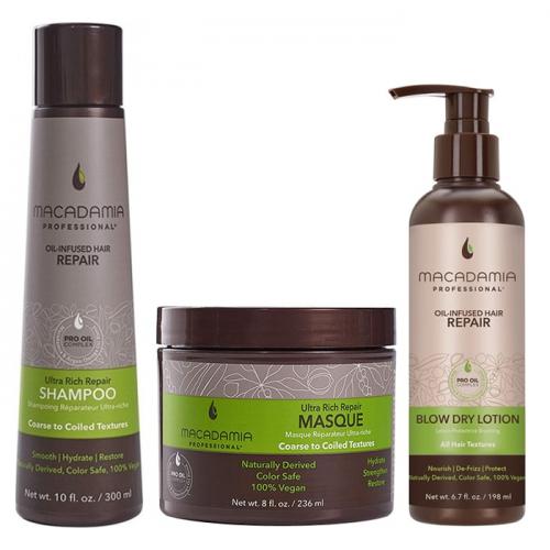 Трио шампоан, маска и термозащитен крем Macadamia Ultra Rich Repair за плътни коси
