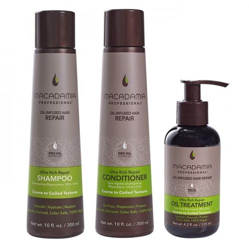 Трио шампоан, балсам и олио Macadamia Ultra Rich Repair за плътни коси
