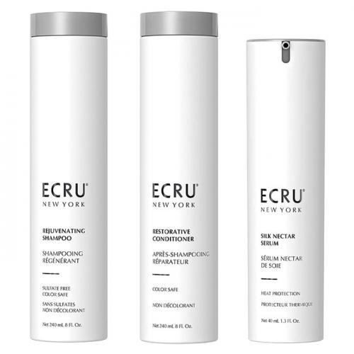 Трио шампоан, балсам и копринен нектар за дълбока хидратация и блясък ЕCRU New York