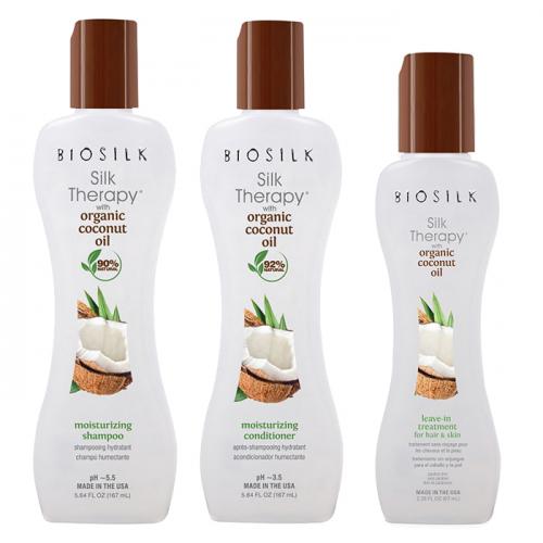 Трио шампоан, балсам и коприна за хидратация с органично кокосово масло BioSilk Organic Coconut Oil