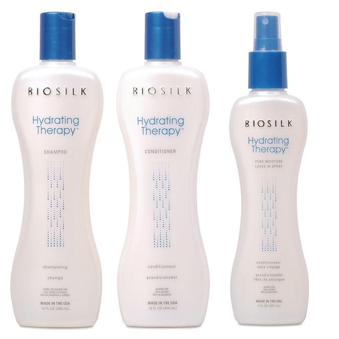 Трио шампоан, балсам и спрей за интензивна хидратация с копринени протеини за суха коса BioSilk  Hydrating Therapy