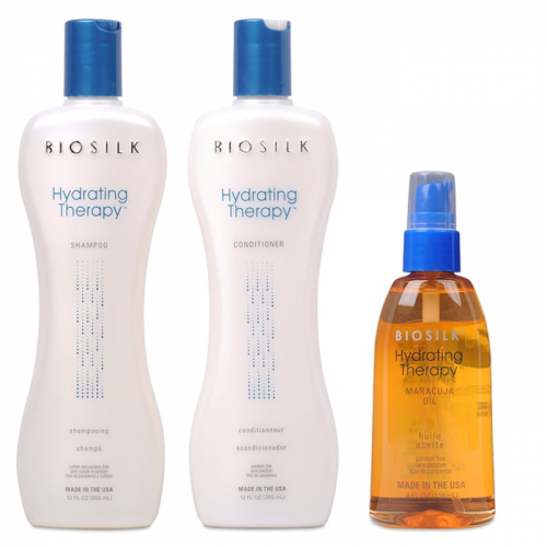 Трио шампоан, балсам и масло от маракуя за интензивна хидратация и омекотяване за суха коса BioSilk Hydrating Therapy