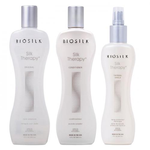 Трио шампоан, балсам и термозащитен спрей с копринени протеини BioSilk