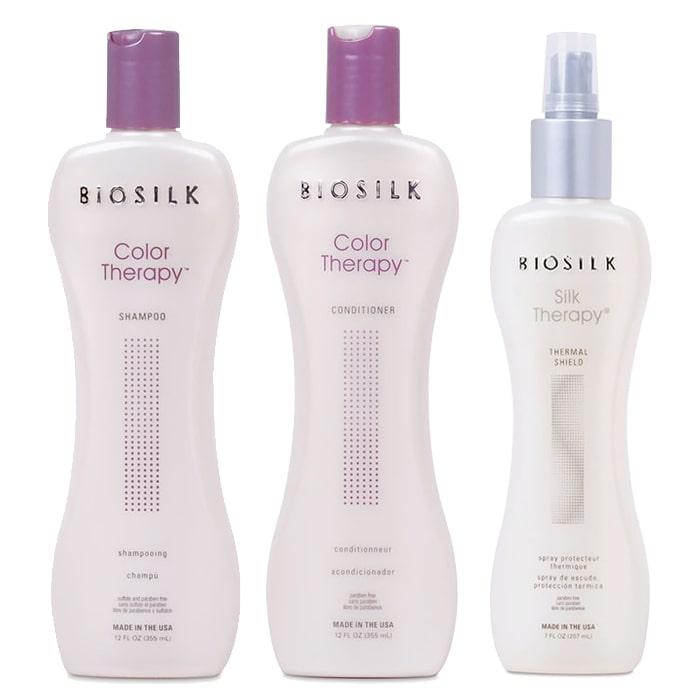 Трио шампоан, балсам и термозащитен спрей с копринени протеини за боядисана коса BioSilk