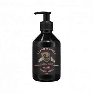 Шампоан 2 в 1 за мъже с аромат на бергамот и кехлибар Beard Monkey 250 мл
