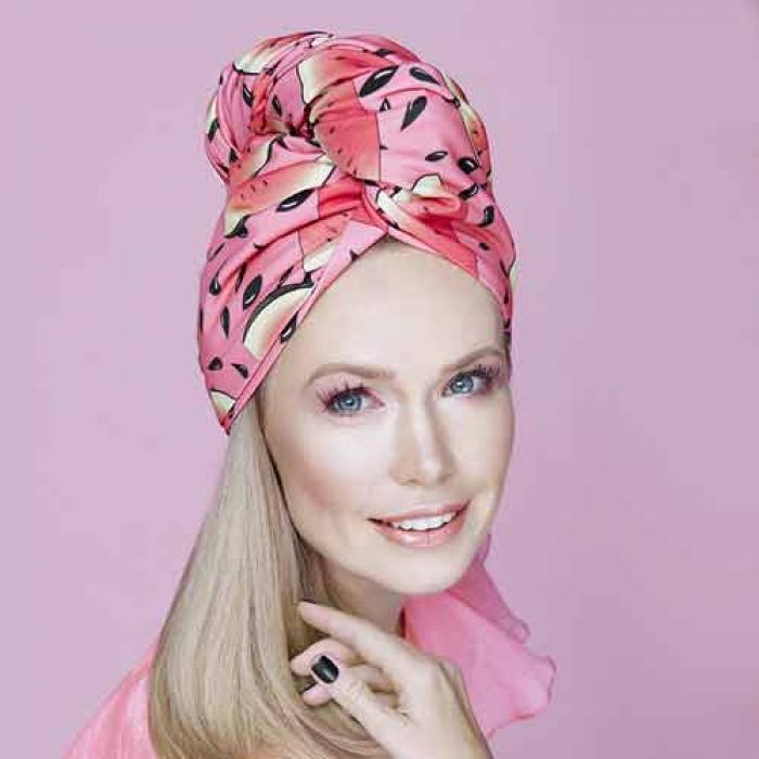Дизайнерска кърпа за коса Aglique Sandia сатенена