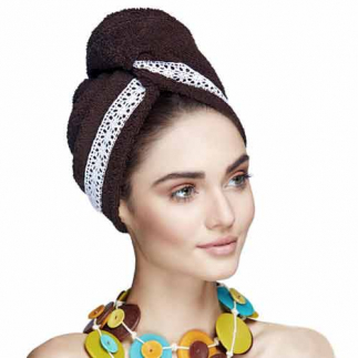 Дизайнерска кърпа за боядисана коса Aglique Grace Brown памучна