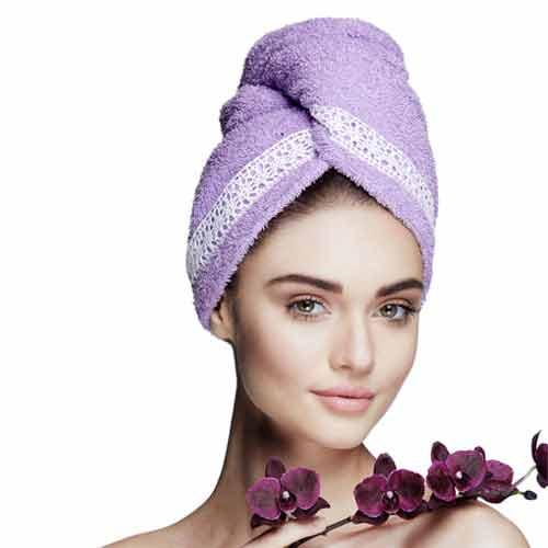 Дизайнерска кърпа за коса Aglique Grace Purple памучна