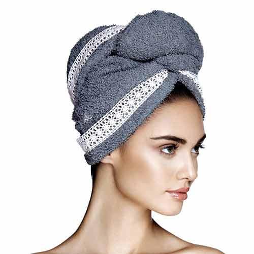 Дизайнерска кърпа за коса Aglique Grace Gray памучна