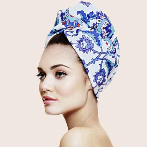 Дизайнерска кърпа за коса Aglique Turquoise памучна