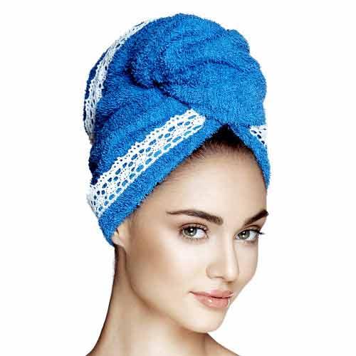 Дизайнерска кърпа за коса Aglique Grace Sea Blue памучна