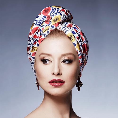 Дизайнерска кърпа за коса Aglique Poppy сатенена