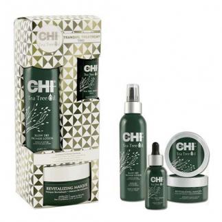 Комплект серум и маска + подарък термозащитен спрей CHI Tea Tree Oil