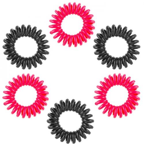 Ластици за коса Dessata No Pulling Черно / Фуксия 6 бр