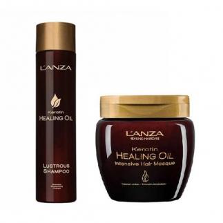 Възстановяващи шампоан 300 мл и маска с 210 мл с кератин LANZA Keratin Healing Oil