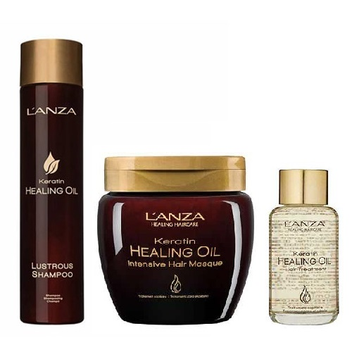 Трио шампоан 300 мл, маска 210 мл и олио 50 мл с кератин LANZA Keratin Healing Oil Treatment
