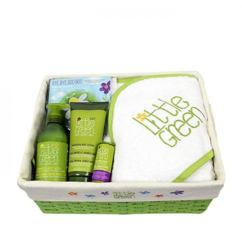 Бебешки комплект за коса и тяло от 5 части Little Green Baby Bundle Basket