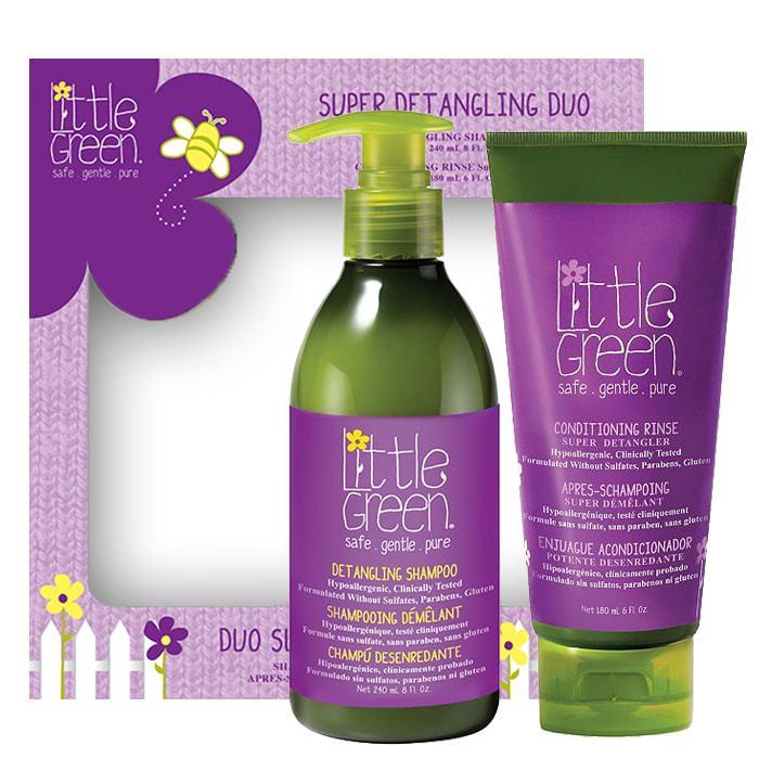 Комплект за деца срещу заплитане на косата от 2 части Little Green Super Detangling Duo
