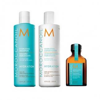 Трио шампоан 250 мл, балсам 250 мл и олио 25 мл  за всеки тип коса Moroccanoil Hydrating