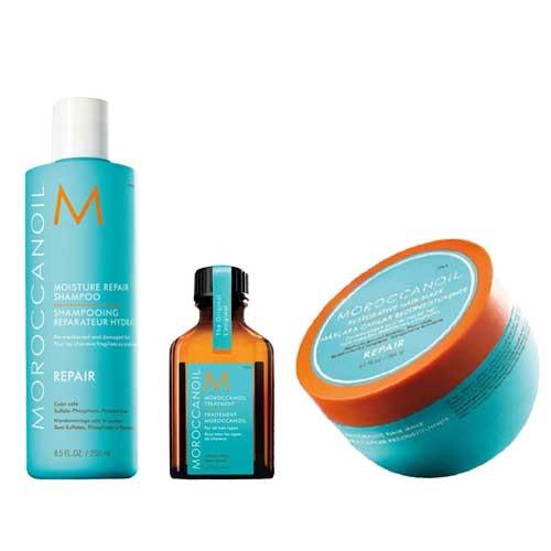 Трио за възстановяване шампоан 250 мл, маска 250 мл и олио за всеки тип коса 25 мл Moroccanoil Moisture Repair