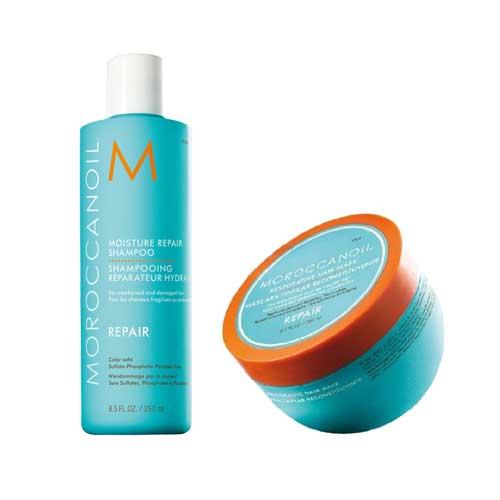 Комплект маска и шампоан за възстановяване Moroccanoil Moisture Repair