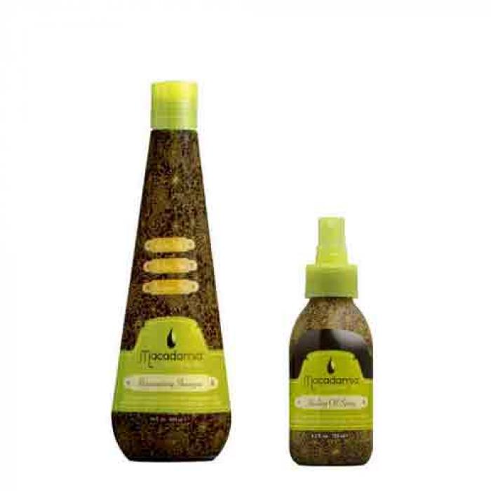 Шампоан с макадамия и арган Rejuvenating + Спрей за подхранване и блясък  Healing Oil Spray 125 мл Macadamia