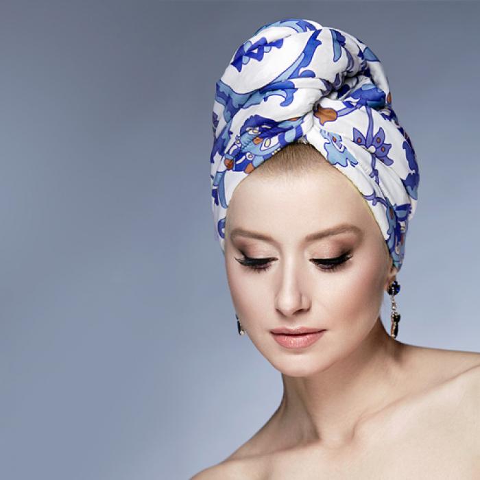 Дизайнерска кърпа за коса Aglique Turquoise сатенена