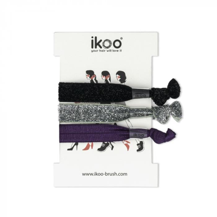 Ластици за коса IKOO Hair Bands 3 броя черно, сребърно и лилаво